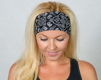 Yoga Headband-Black Workout Headband-Running Headband-Fitness Headband-Bandana Headband-Fashion Headband-Women Head Wrap-Wide Headband-Black