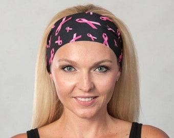Workout Headband-Yoga Headband-Fitness Headband-Running Headband-Women Headband-Boho Headband-Breast Cancer Awareness Headband-Pink/Black