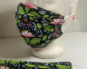 Pretty Face Mask with Flowers. - Floral Face Cover
