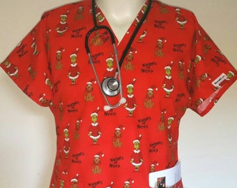 the grinch naughty or nice christmas scrub topespecially tailored scrub tops for men male nurses techs vets dental and professionals - Christmas Scrub Top