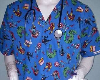 a381de9d4dc Avengers Thor Retro Scrub Top Hulk, Wolverine, Iron Man, Marvel!!  Especially tailored for MEN/Gals:nurses,Pa, Md, techs, dental,vets