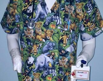 1dd595d7787 Jungle Baby Animals Scrub Top!!-Especially tailored V Neck Scrub Tops for  MEN/Gals: murses, nurses,Rn, Pa, Md,techs, dental,vets, healthcare