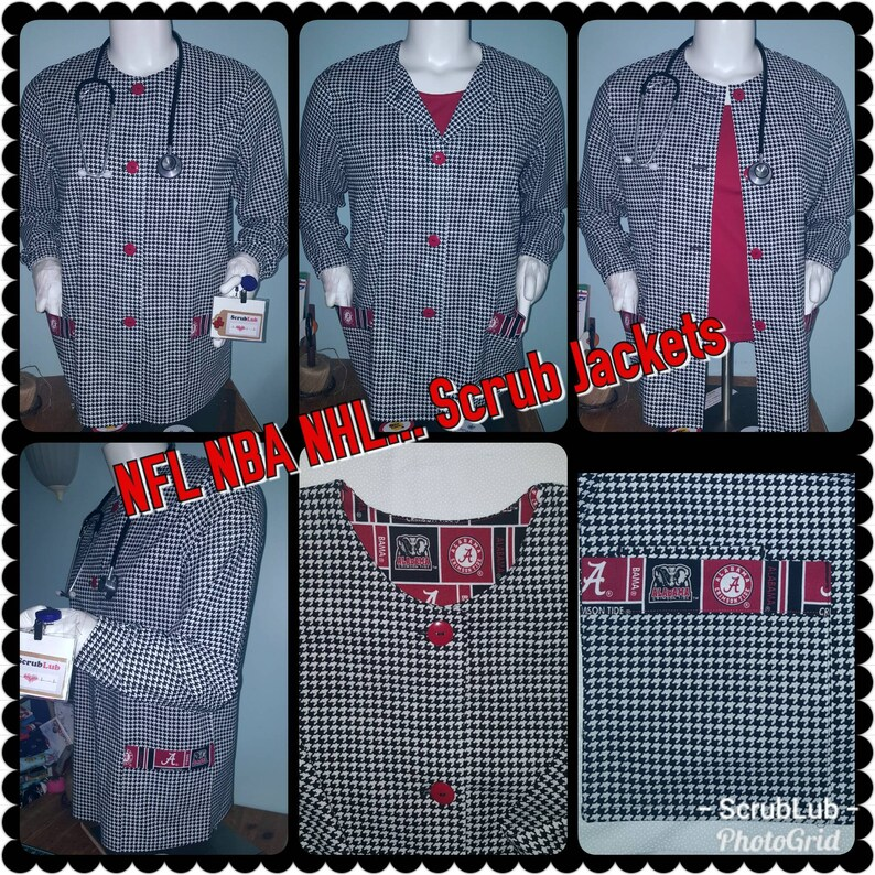 huge discount e4ba9 795d8 Scrub Jackets University of Alabama Warm Up Jacket Houndstooth Crimson Roll  Tide scrub top Rn Md nurse lab coat ncaa NFL NBA scrub jacket