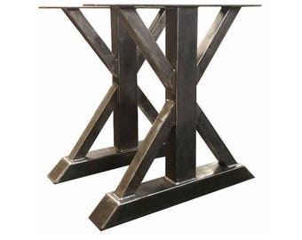 Counter Height Tall Steel Trestle Table Legs With Etsy - Counter height table base kit
