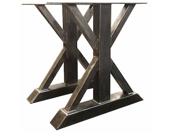 """Dining Table Height 28-1/2"""" Tall Metal Trestle Style Table Legs - Heavy Duty Steel Table Base"""