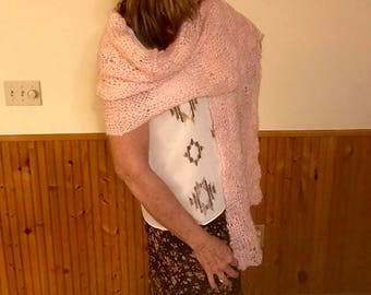 Pink Mohair Shawl