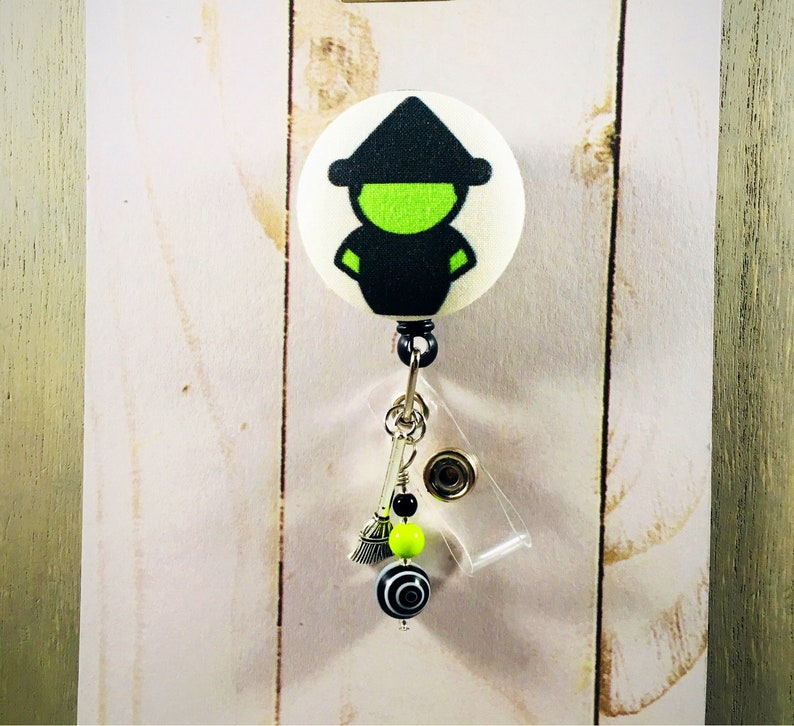 The Wicked Witch WIZARD Of OZ Retractable Badge Reel ID Holder with Broom  charm * nurse teacher gift * Fob access card