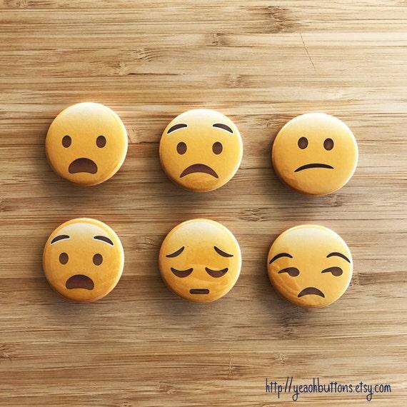Emoji Accessories Sad Face Button Pack Cute