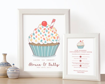 Cupcake thumbprint, Custom guest book, Fingerprint wedding, Wedding Guestbook, Thumbprint art, Personalized guestbook, Wedding accesories
