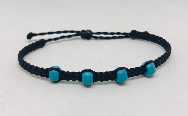 waterproof jewelry wax string bracelet woven bracelet Side knot wax cord beaded bracelet wax string bracelet adjustable beach anklet