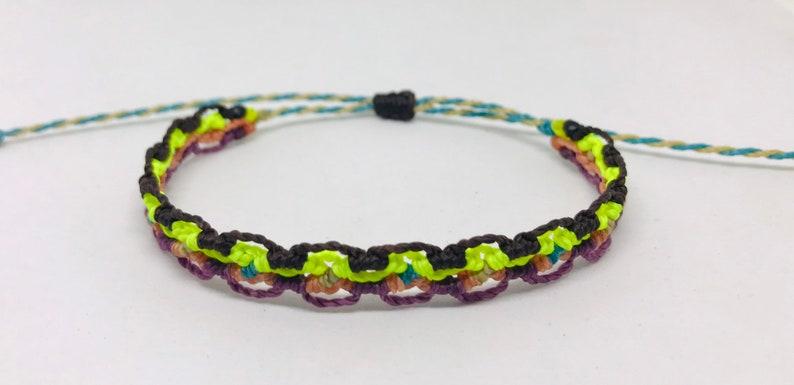 beach anklet wax cord vegan bracelet Macram\u00e9 Wax String Bracelet or anklet friendship bracelet woven bracelet waterproof bracelet