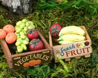 Miniature Wooden Crate - Your Choice of Fruit or Vegetable!!