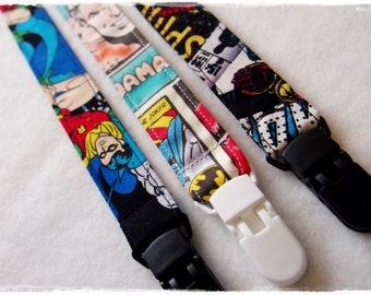 3 DUMMY CLIPS - Superhero Set / Comic Book / Spider Man / Batman / Marvel & DC / Dummy Clip / Dummy Chain / Pacifier Clip / Toy Leash