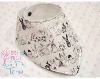 Handmade Bib / Baby Bib / Baby Bandana Bib / Baby Dribble Bib / Bibdana / Baby Drool Bib / Baby Accessories / Bunnies