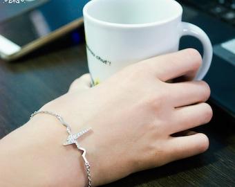 EKG bracelet-Heartbeat Bracelet-Medical Jewellery-Ekg GIft-Heartbeat Jewellery-Medical Gift-Gift for Doctor-Gift for Nurse-Nurse Jewellery