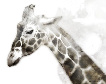 """Giraffe Watercolor Painting, 8X10"""" and 11X14"""" Instant Download, Ptintable, Animal Painting, Animal Art, Animal Print"""