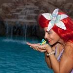 """ARIEL Inspired Disney Mermaid Sea Hair FLOWER CUSTOM 6-9"""" size"""