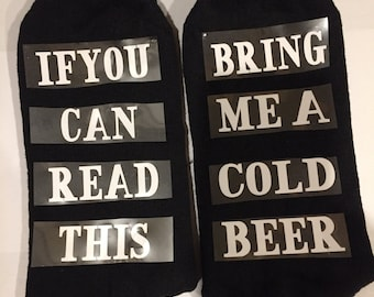 Man Beer Socks, If You Can Read This Socks, Beer Stocking Stuffers, Funny Christmas Gift, Birthday Present, Socks Bring A Cold Beer