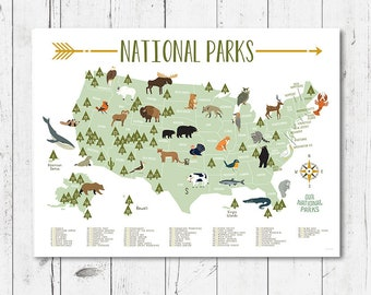 National parks map | Etsy