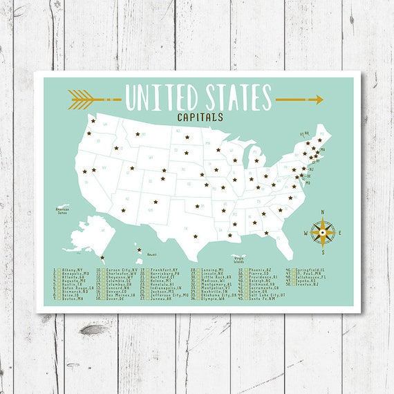 United States map, nursery map , printable file (JPEG) download and print  any size between \'5x7\