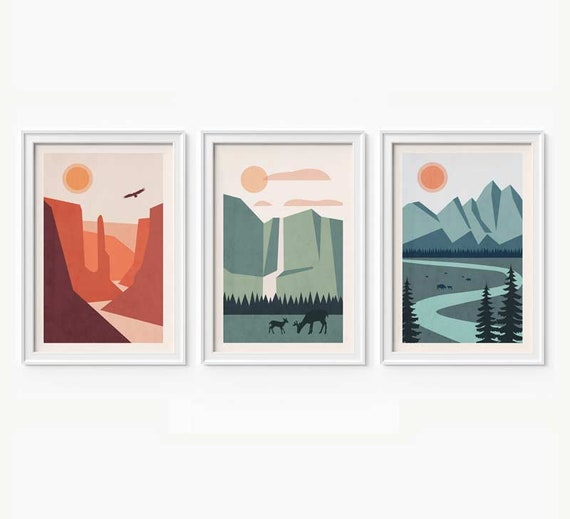 National Park Art Set Of 3 Prints National Park Poster Etsy