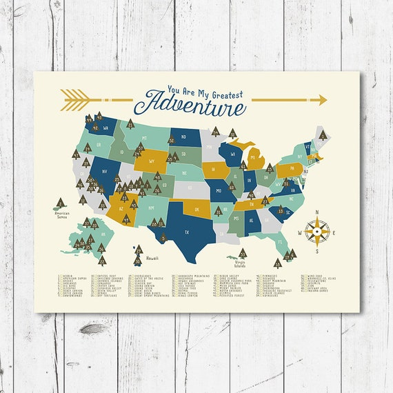 United States 24x36 map , Adventure, Mountains, Parks, Rivers, camping art,  boy room map, Kids Bedroom, Classroom, Educational