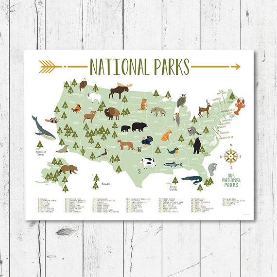 United States National Parks map for Nursery decor, Children\'s wall art for  Nursery or Bedroom, Animal Illustrations Map
