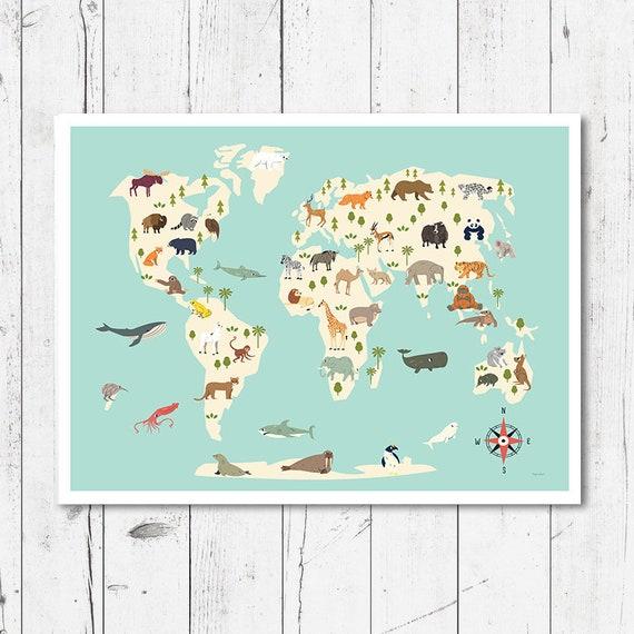 Animal Map for Children Nursery Decor Printable World Map   Etsy