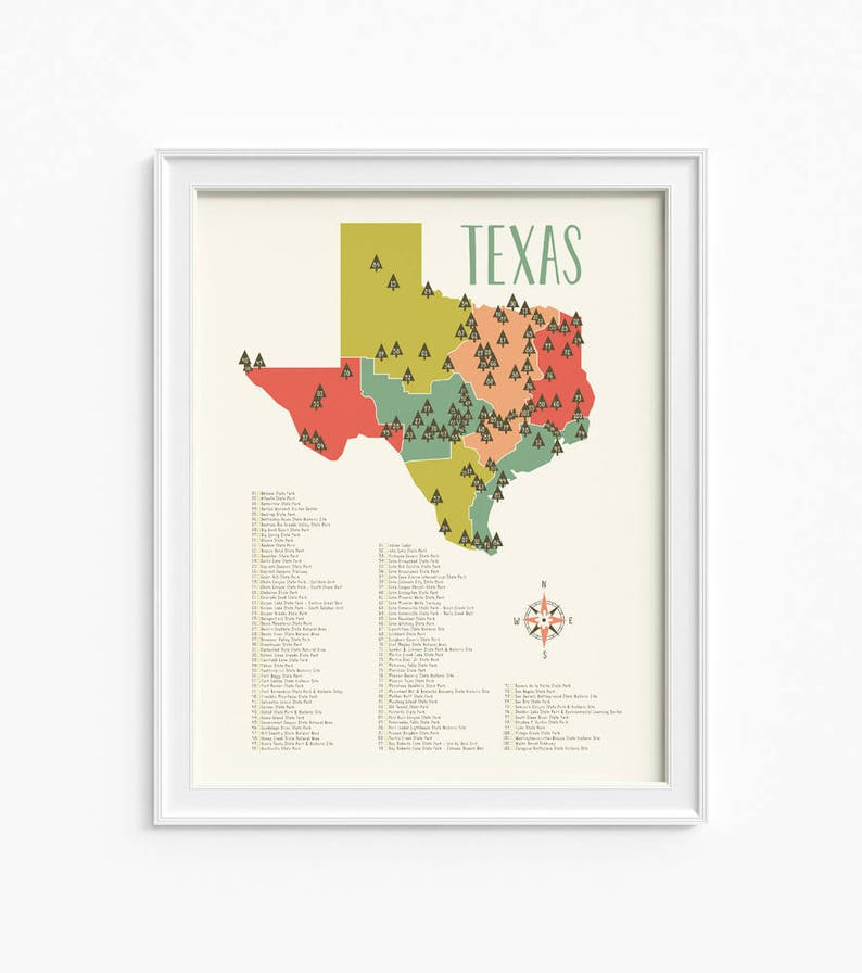 Map Of Texas State Parks.Texas Parks Texas State Park Map Texas Nursery Map 2 Etsy