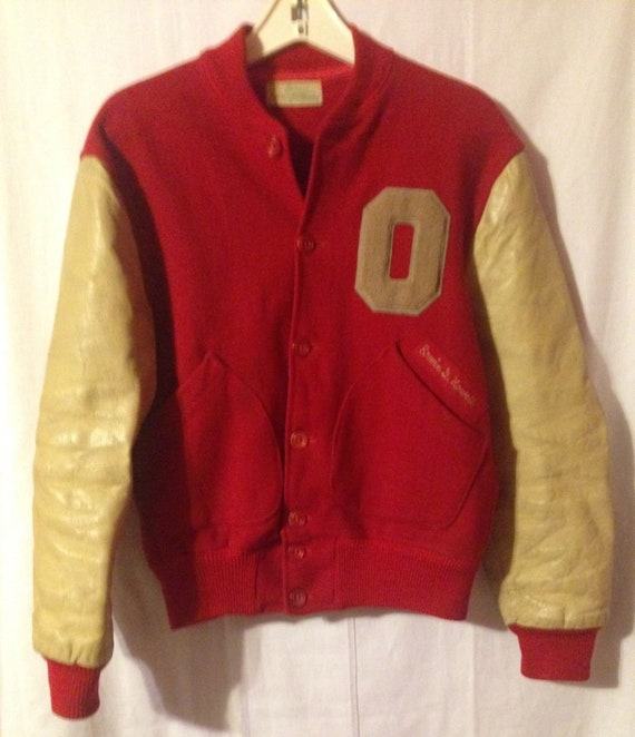 Rare Vintage 1960 S Ohio State Buckeyes Personalized Varsity Letterman Jacket Size 40 With Leather Sleeves And Wool Body