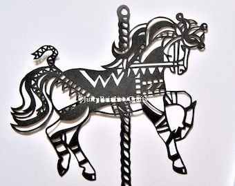 Carousel Horse (Jester) - Papercutting Template, Personal Use