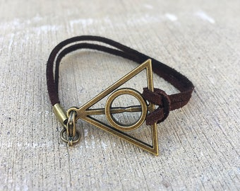 Harry Potter Charm Bracelet, Clasp Bracelet, Genuine Leather Suede Cord, Customize your cord color, Personalized