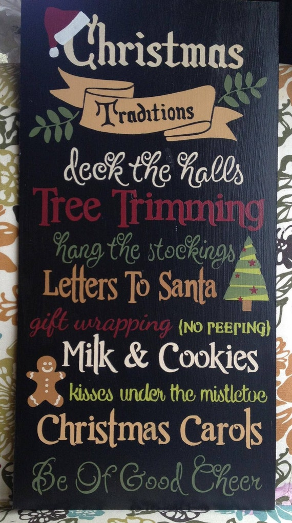 Wood Christmas Signs Christmas Traditions 12x24 Decoration Etsy