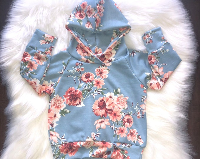 Featured listing image: BLUE FLORAL HOODIE; baby girl
