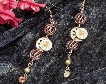 Copper & Brass Octopus Earrings