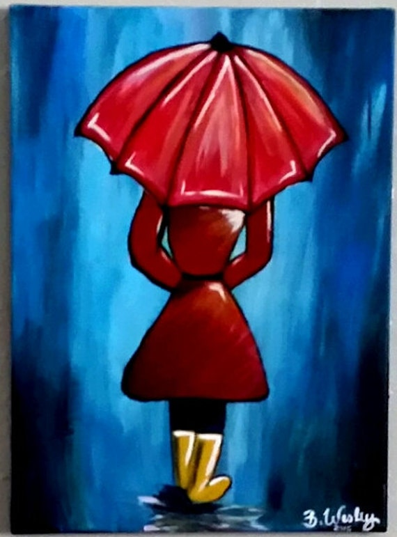 Abstract Painting Of Girl With Umbrella On A Rainy Day Etsy