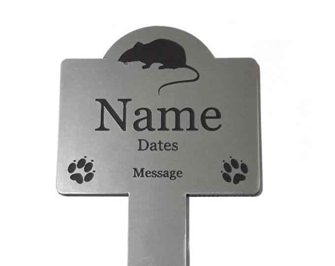 Pet Rat Memorial Stake - Personalised Engraved Metallic Silver Plaque, Waterproof, Grave Marker, Outdoor, Garden,