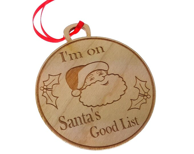 Santa's Good List, Wooden, Engraved, Medal - Christmas Tree Decoration, Novelty Gift
