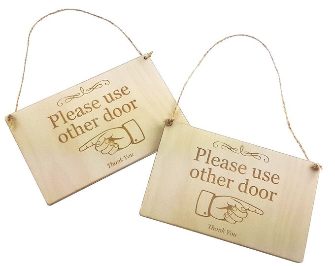 Stylish Wooden 'Please use other door' Sign - Directional, Reversible, Double Sided, Arrow, Hanging, Hand Illustration Pointing