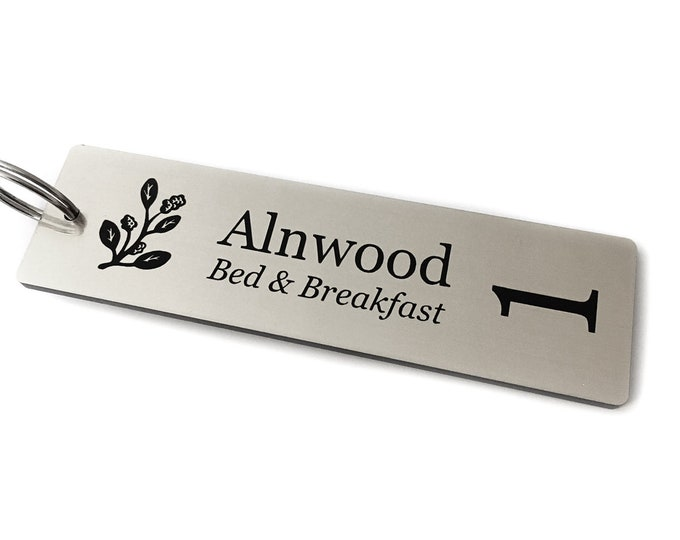 Double Sided Personalised Key Fobs - SILVER Rectangle - Ideal for Hotels, Bed and Breakfast, Guest Houses