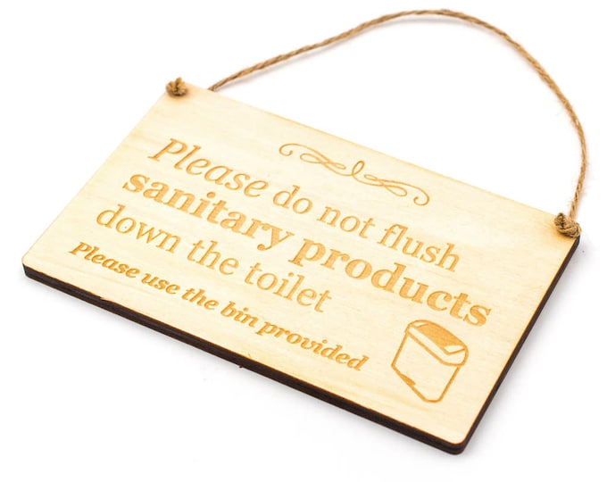 Stylish Wooden Engraved SANITARY BIN Sign for Toilet, Ladies, Loo, Bathroom, W.C - hanging sign supplied with twine