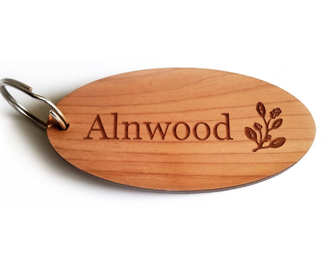 Personalised Key Fobs - Wood Veneer OVAL - Ideal for Hotels, Bed and Breakfast, Guest Houses
