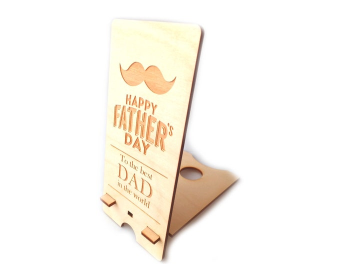 Father's Day Gift - Mobile Phone Stand Holder (Wood) Perfect Present for Dad Grandad Father