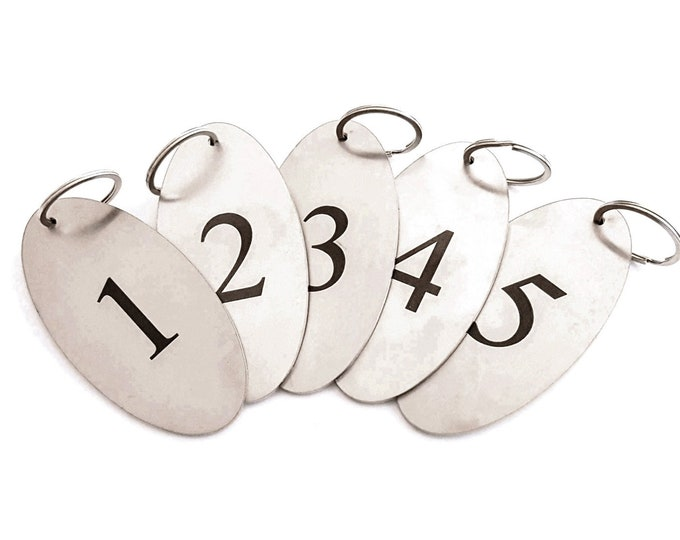 Heavy Duty, Stainless Steel, Key Fobs Numbers 1 to 5 - Oval, Black Numbers,