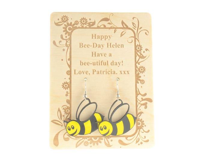 Personalised Birthday Card Bumble Bee Earrings