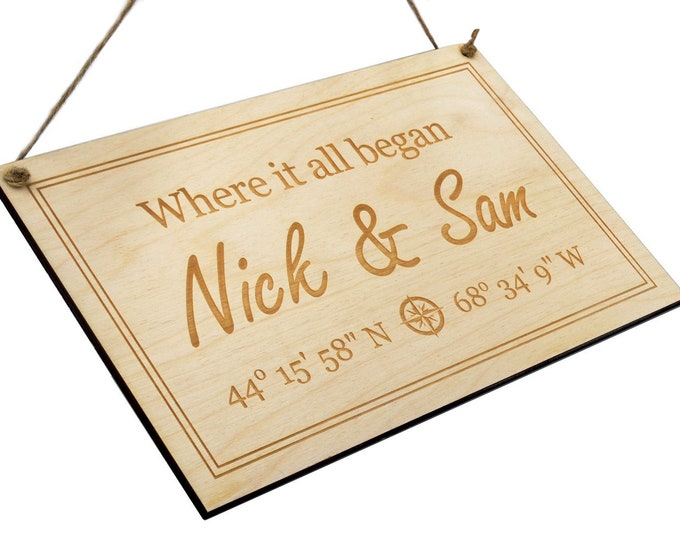 Personalised GPS Coordinates Wooden Sign - latitude longitude sign | GPS sign | coordinates sign | address sign, wedding gift, customised