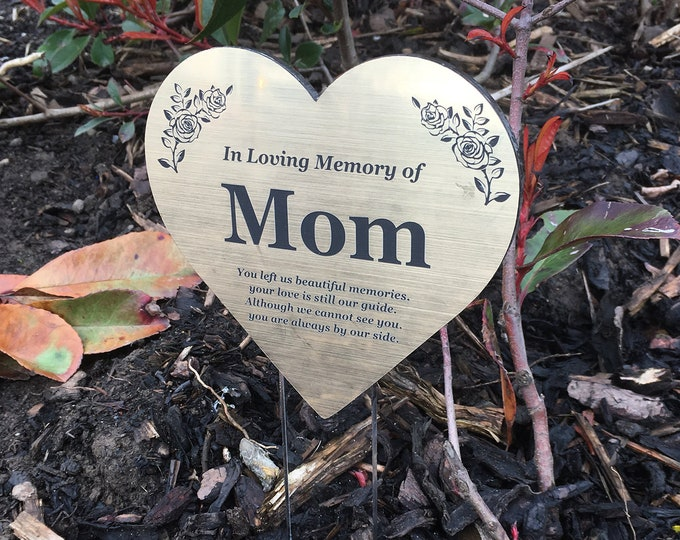 Mom Floating Heart Memorial Remembrance Plaque Stake - GOLD / SILVER / COPPER Metallic Acrylic, Waterproof, Outdoor, Grave Marker, Tribute