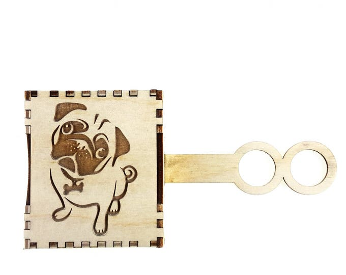 Fun Pug Design Dog Poo Bag Holder: Integrated Double Loop for Easy Lead Fixing