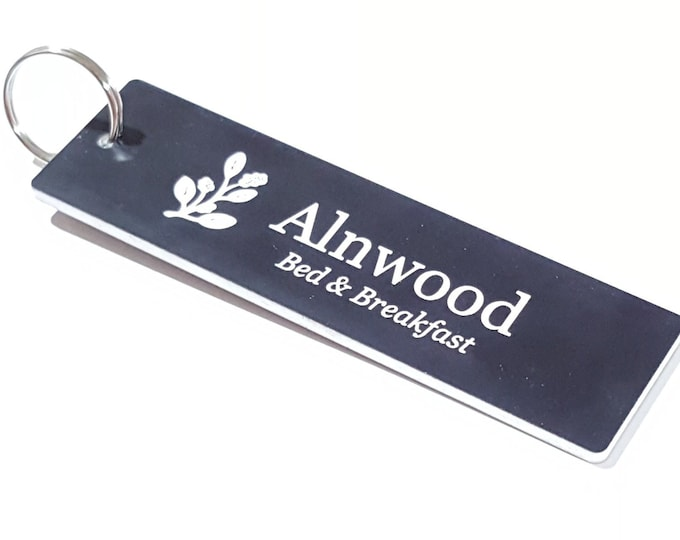 Personalised Key Fobs -  Black and White Rectangle - Double Sided - Ideal for Hotels, Bed and Breakfast, Guest Houses