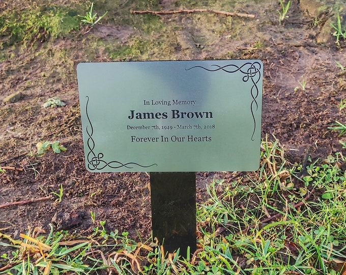 Personalised Silver Memorial Plaque Stake - Outdoor Garden Waterproof - Your Choice Of Design